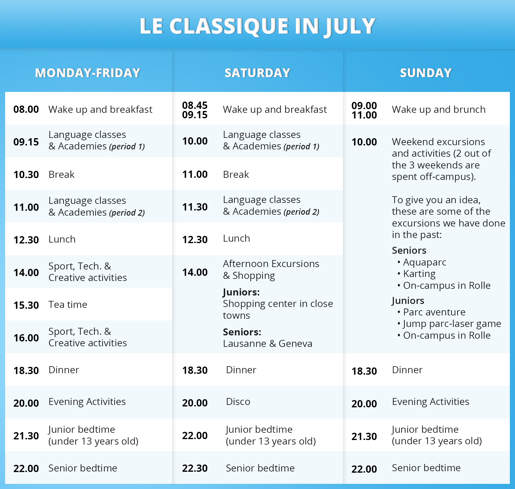 Le Classique Daily Timetable