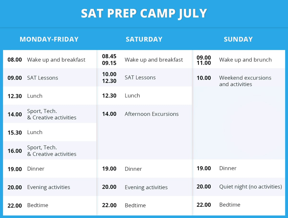 SAT Prep Camp timetable July